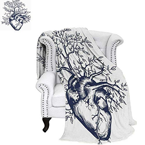 - WilliamsDecor Surrealistic Custom Design Cozy Flannel Blanket Human Heart Blooming with Tree Leaves Anatomy of Life and Love Concept Blanket 80
