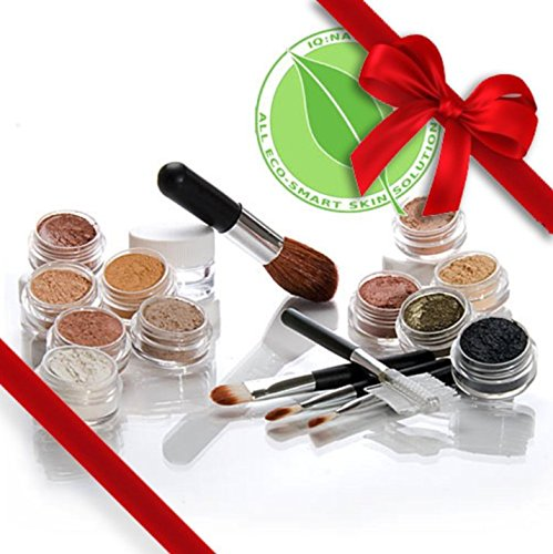 "Mineral Makeup Samples Set with 5 piece Black Brush Kit. ""MEDIUM"" Shade Natural Makeup. IQ Natural make up brand."