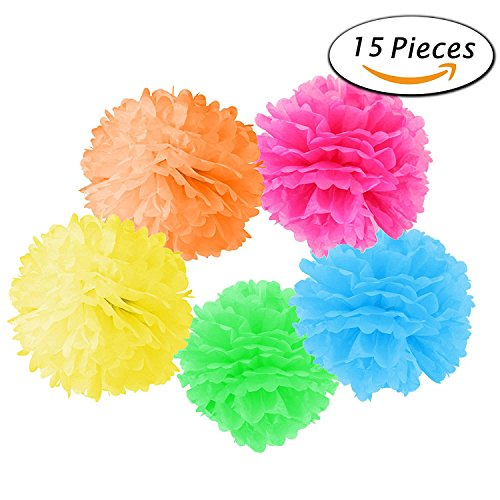 Paper Pom Poms, Paper Flowers Balls For Wedding Decor - Birthday Celebration - Wedding Party and Outdoor Decoration(15 pcs of 10, 12, 14 Inch) (Tissue Paper Balls)