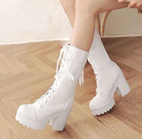KUKI autumn women boots waterproof women boots thick Martin boots large boots thick with high heels , US8.5/ EU40 / UK6.5/ CN40