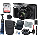 Canon Powershot SX720 HS Digital Camera (Black) with Bundle Package Deal –SanDisk 32gb SD Card + Camera Case + Gripster Tripod + More