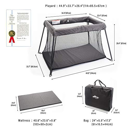 UNiPLAY Pack N' Play Portable Playard — Lightweight Baby Playpen, Travel Crib With Comfortable Mattress And Breathable Mesh Crib Liner For Babies And Toddlers (23.6X 45.3x31.5 Inch)