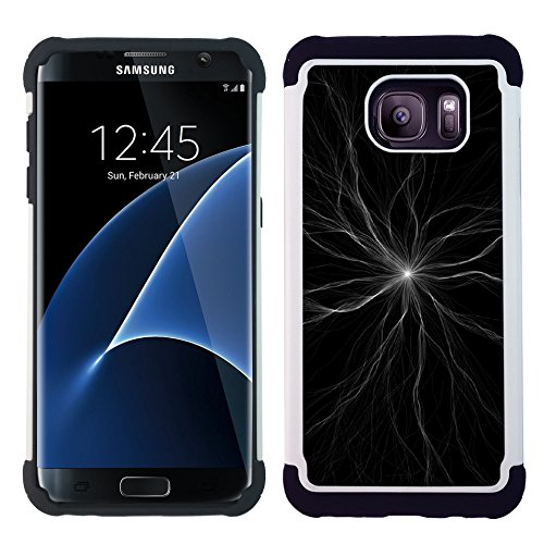 Samsung Galaxy S7 edge (Curved screen,NOT FOR S7)/ S7 edge Duos / G930 - Hybrid Heavy Duty Armor Shockproof Silicone Cover Rugged case (Linear Radiation)
