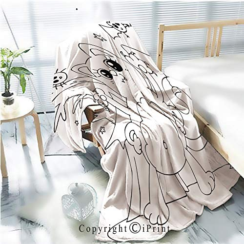 Printed Soft Blanket Premium Blanket,Coloring Halloween cat Monster with bat Wings Microfiber Aqua Blanket for Couch Bed Living Room,W59.1 xH78.7 ()