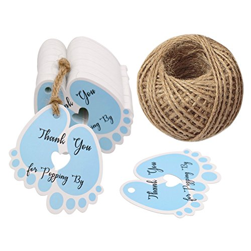 - 100 Pcs Baby Shower Tags,Thank You Gift Tags,Thank You for Popping by Tags with 100 Feet Jute Twine (Blue)