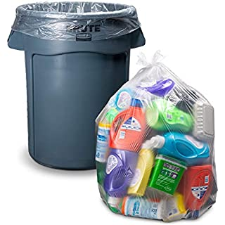 "Clear Trash Bags, 33 Gallon, (100/Count w/Ties) Large Clear Plastic Recycling Garbage Bags, 33""H x 39""W,(Clear)"