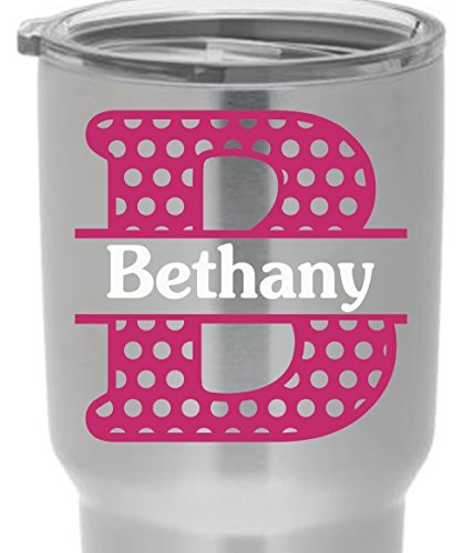 Polka Dotted Split Letter Yeti Cup Vinyl Name Decal for RTIC or Yeti Tumblers Laptops MacBooks Car Windows Planners etc