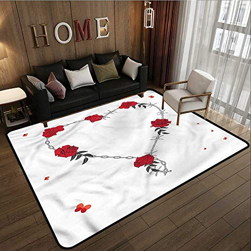 Living Room Area Rug Barbed Wire Valentines Day Theme Anti-Slip Doormat Footpad Machine Washable 3'3