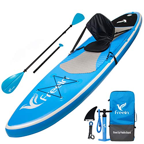 Freein All Round Stand Up Paddle Board Inflatable SUP 10′ Long 31″ Wide 6″ Thick Blue with Kayak Conversion Kit,Package|Kayak seat,Adj 2 in 1 Paddle,Backpack,Leash,Pump
