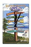 Cape Cod, Massachusetts – Destinations Sign (Version 2) (Acrylic Wall Clock) For Sale