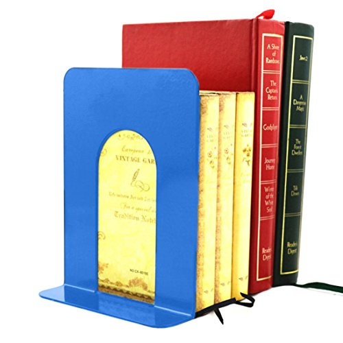 Gbell 2Pcs/Set Dedicated Bookends for Heavy Books, School Office Art Black Blue Metal Bookend for Kids Adults,22.5x13.5 CM - Softcover End