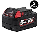 Enegitech 2 Pack 18V 5.0Ah Replacement Battery for Milwaukee M18 XC Red Lithium M18B 48-11-1820 48-11-1850 48-11-1828 48-11-1815 Cordless Power Tools
