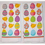 Nantucket Home 100% Cotton Printed Easter Themed Kitchen Towels, 15-Inch x 25-Inch, Set of 2 (Multicolor Eggs & Chicks)