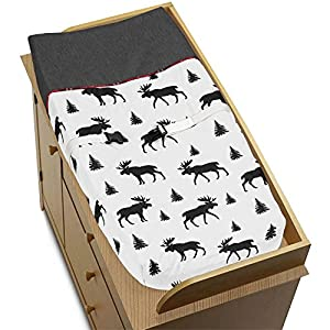 Sweet Jojo Designs Grey, Black and Red Woodland Plaid and Moose Changing Pad Cover for Rustic Patch Collection