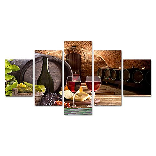 TYXQ Canvas Pictures Modern Wall Art Wine Poster 5 Sheets Living Room Wall Decoration Modern Giclee Canvas Prints Artwork, with Borders, SizeB