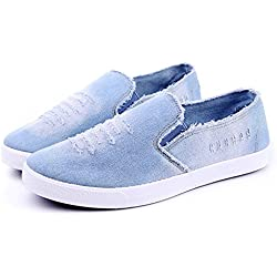 Travfis Loafers Shoes 2017 Summer Men Shoes Breathable Slip-On Cut-Out Denim Casual Canvas Shoes Flat Heels Size 39-44 Sky Blue 10