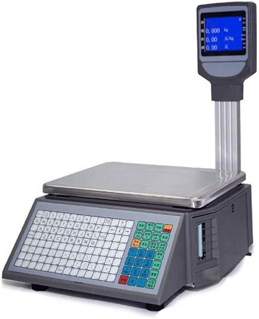 LEIXIN Escala de Grasa Corporal Balanzas electrónicas, de Gama Alta LCD Autoadhesivo de impresión de Etiquetas de código de Barras Escala de supermercado Tienda de Frutas Caja registradora Escala: Amazon.es