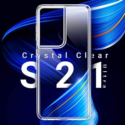 TORRAS Crystal Clear Compatible with Samsung Galaxy S21 Ultra Case 6.8 inch, Soft Yellow-Resistance Ultra-Thin Shockproof Protective Slim Silicone TPU for S21 Ultra Phone Case, Crystal Clear