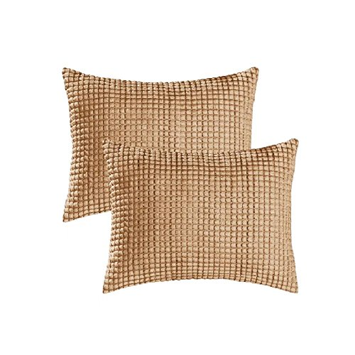 Pack of 2,Bolster Throw Pillow Covers Cases for Couch Sofa Bed, Comfortable Supersoft Corduroy Corn Striped Both Sides, 16 X 24 Inches,Camel (24 X Pillow Cover 16)