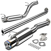 "Honda Civic 4"" Burnt Muffler Tip Stainless Steel Catback Exhaust System (NOT fit SI Models)"