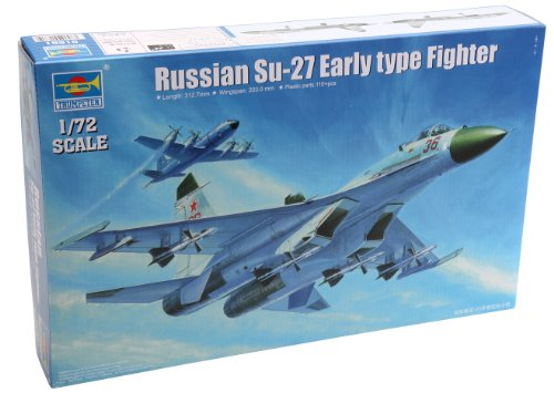 Su 27 Russian Air (Trumpeter Su-27 Sukhoi Early Type Russian Fighter Airplane Model Kit, Scale 1/72)