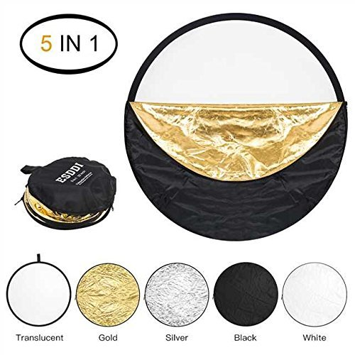 ESDDI 42 inch Light Reflector 5-in-1 Portable Collapsible Reflector Photography with Bag, Silver, Gold, White, Translucent and Black for Studio or any Photography Situation by ESDDI