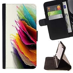 For Samsung ALPHA G850 Case , Hojas de otoño Pila colorido arte brillante- la tarjeta de Crédito Slots PU Funda de cuero Monedero caso cubierta de piel