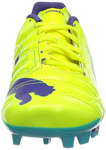 Puma evoPOWER 4 FG Jr Unisex-Kinder Fußballschuhe Orange (fluro yellow-prism violet-scuba blue 04)