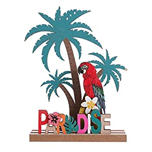 Amosfun Aufsteller Holz Schriftzug Papagei Kokosnussbaum Paradise Holzschrift Tropischer Stil Desktop Ornament DIY…