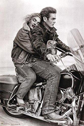 - Buyartforless James Dean & Marilyn Monroe (Motorcycle) 24x36 Movie Art Print Poster Romantic
