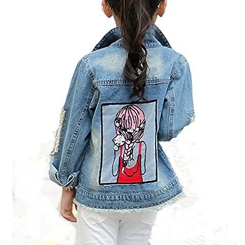 Little Big Girls Denim Jackets Coats Outwear (8, Blue) - Denim Coat Jacket