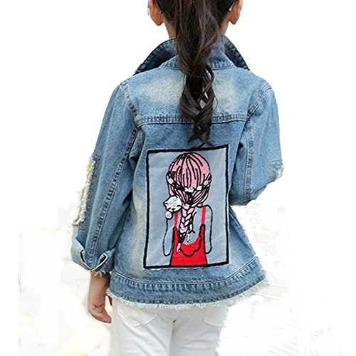 Star Flower Little Big Girls Denim Jackets Coats Outwear (8, Blue)