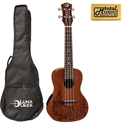 Luna Mahogany Series Mo'o Acoustic-Electric Concert Ukulele w/ Gigbag & PC by Luna Guitars