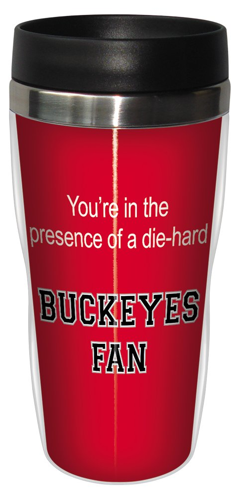 Tree-Free Greetings sg24526 Buckeyes College Football Fan Sip 'N Go Stainless Steel Lined Travel Tumbler, 16-Ounce
