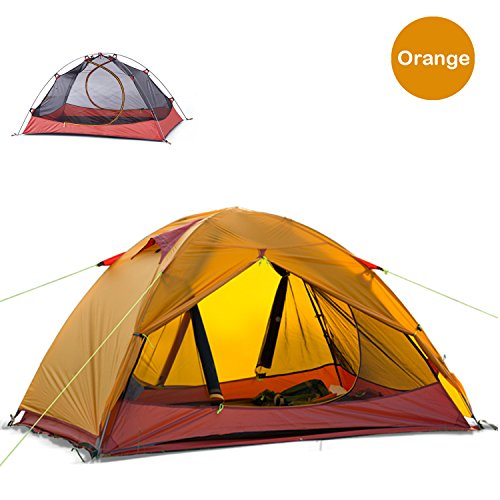 Ultralight 2 Person Tent (Naturehike Ultralight 2 Person 3 Season Backpacking Tent for Camping, Silicone Coated Lightweight Waterproof Two Doors Double Layer Anti-UV with Aluminum Rods for Outdoor Family Beach Hunting (Orange))
