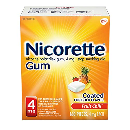 Nicorette Nicotine Gum to Quit Smoking 4 mg each Fruit Chill, 160 Count