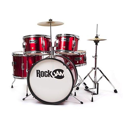 RockJam RJ105-MR Complete 5-Piece Junior Drum Set with Cymbals, Adjustable Throne & Accessories, Metallic Red -