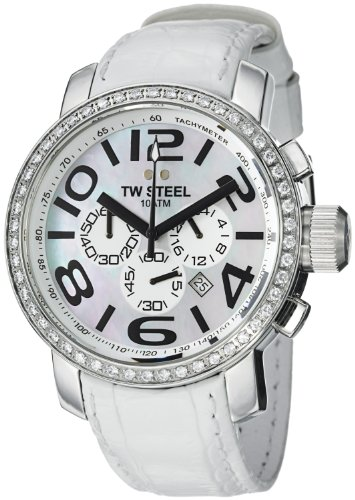TW Steel Grandeur Chrono Swarovski Crystal Stainless Steel Wrist Watch for Women - Mother-of-Pearl Dial Chronograph Date TW Steel Watch Womens - White Leather Band 45mm Large Face Ladies Watch TW54