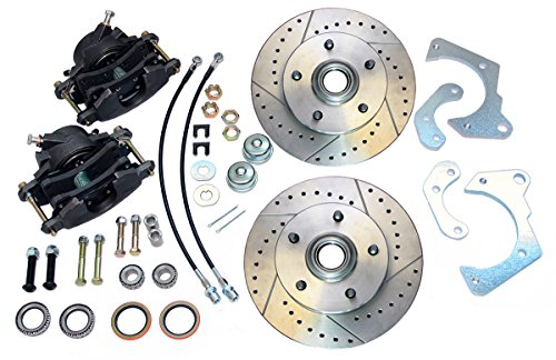Compatible With 1965-1968 Chevrolet Impala Front Power Disc Brake Conversion Lower Slotted Rotors