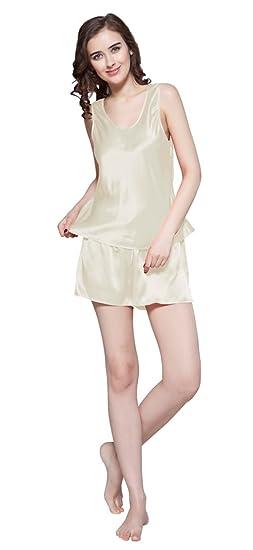e3c4d53cb7 LilySilk Women s Mulberry Silk Camisole Pajama Set Shorts 22 Momme Pure Silk  Beige Size 0-