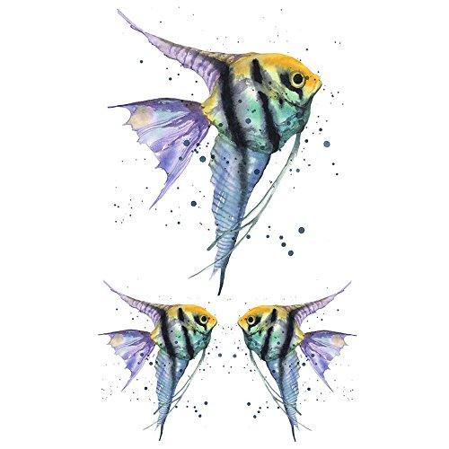 WYUEN 5 Sheets Fish Kids Body Art Tattoo Sticker For Men Women Fake Waterproof Temporary Tattoo New Designs 10.5X6cm A-174