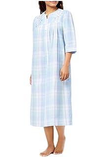 Miss Elaine Seersucker Plaid-Print Zip-Front Long Robe 55% Cotton 45% 1fe7d5b0d