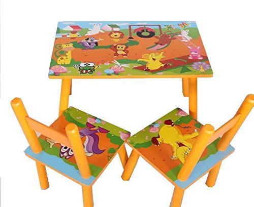 Children Kids Wooden Table And 2 Chairs Set Yellow Zoo Animals Design:  Amazon.co.uk: Baby
