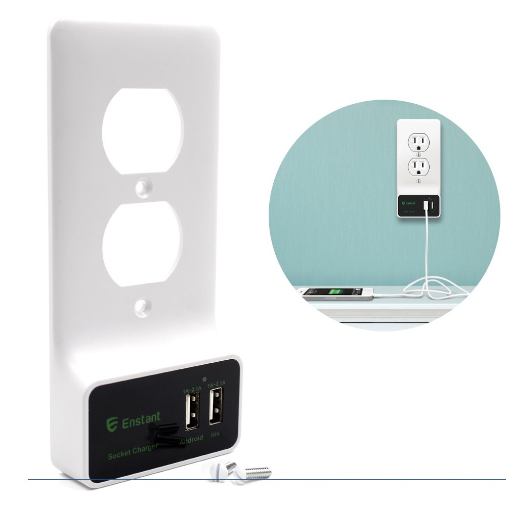 Enstant Usb Outlet Wall Plate Diy Cover Wiring Phone Jack Replacement With Dual Charging Ports No Need Home Improvement