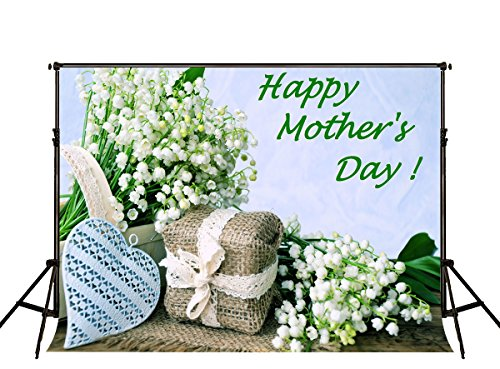 Kate 7x5ft Happy Mothers Day Backdrops for Photographer White Flowers Background Photo Studio Prop]()