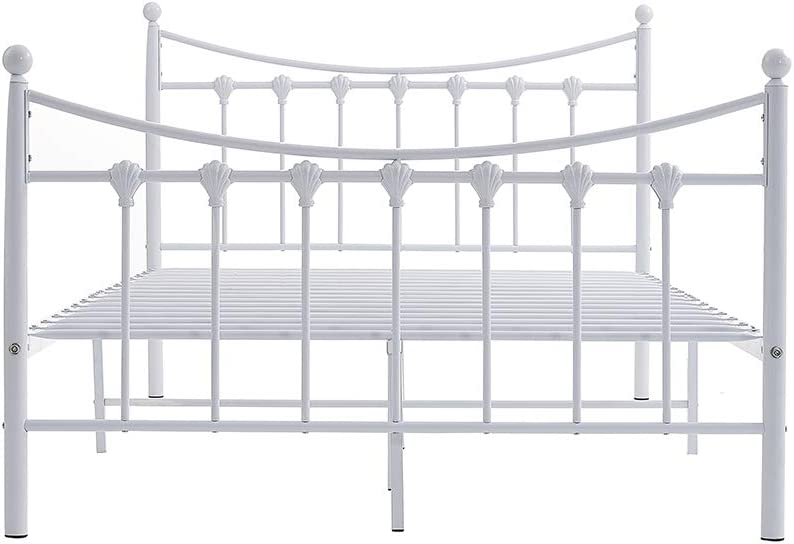 Kids Teenagers 4FT Metal Small Double Bed Frame,Solid Bedstead Base Platform With 2 Headboard For Adults