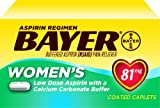 Bayer Buffered Aspirin Pain Reliever, Women's Plus Calcium, 81 mg, 60-Count Caplets