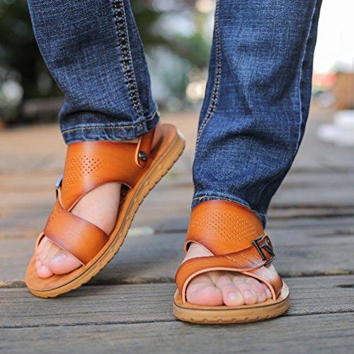 de Homme Plage XIGUAFR Pantoufle Sandale Piscine de Cuir Souple Chaussure L qtaUOgB