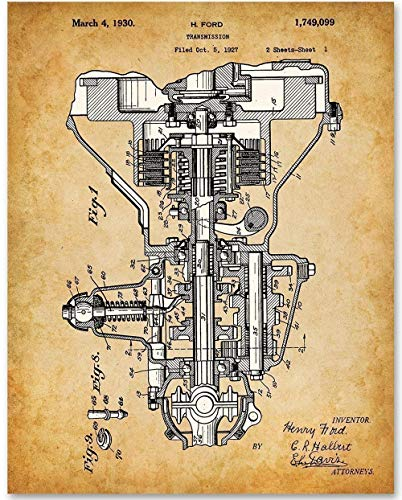 (Henry Ford Auto Transmission - 11x14 Unframed Patent Print - Makes a Great Gift Under $15 for Auto Mechanics or Garage Decor)