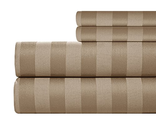 Taupe Damask Stripe - Addy Home ADDY9263 4 Piece T500 Supima Cotton Damask Stripe Set, Queen, Taupe